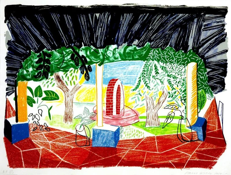 David Hockney, 'View Of Hotel Well I', 1985, Print, Lithograph, Timothy Yarger Fine Art