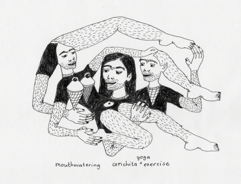 Marlene Steyn, 'Mouthwatering Conchita Yoga Exercise', 2015, Drawing, Collage or other Work on Paper, Pen on paper, Lychee One