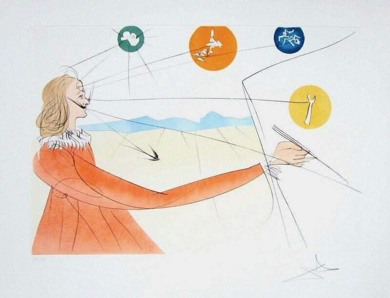 Salvador Dalí, 'Daliean Prophesy', 1975, Print, Engraving with pochoir on Arches paper, Art Commerce