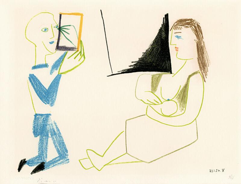 Pablo Picasso, 'Clown et Femme Nue (Clown and Nude Woman), from Verve', 1954, Print, Color lithograph on wove paper, Masterworks Fine Art