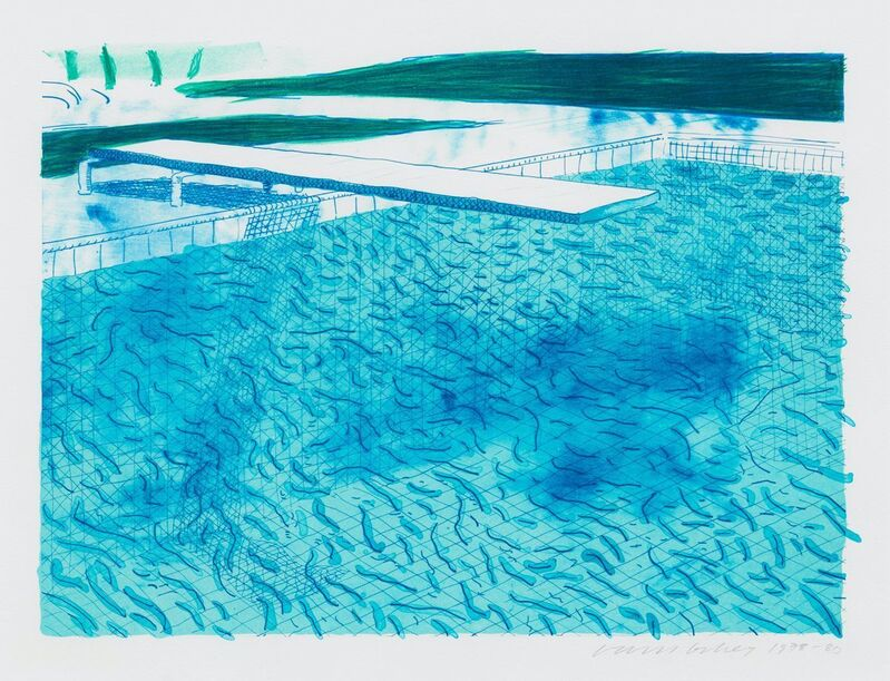 David Hockney, 'Lithograph of Water Made of Lines with Two Light Blue Washes', 1978-1980, Print, Lithograph in colors, on wove paper, Upsilon Gallery