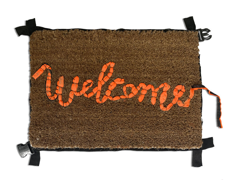 Banksy, 'Welcome Mat', 2019, Mixed Media, Hand-stitched welcome mat using the fabric from life vests abandoned on the beaches of the Mediterranean, Oliver Clatworthy Gallery Auction
