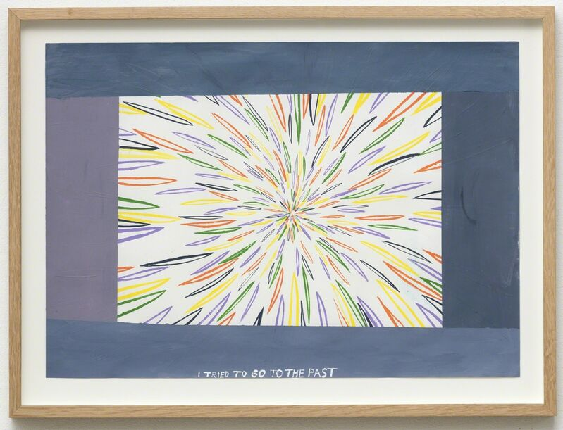 Chris Johanson, 'Untitled (I tried to go to the past it never works)', 2016, Drawing, Collage or other Work on Paper, Acrylic on paper, Galleri Nicolai Wallner
