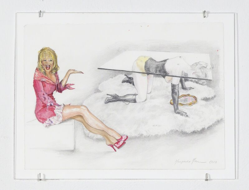 """Margaret Harrison, 'Allen Jones & The P.T.A. (Dolly Parton/Allen Jones """"Table Sculpture"""")', 2010, Drawing, Collage or other Work on Paper, Watercolor and graphite, Ronald Feldman Gallery"""
