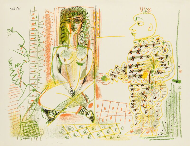 Pablo Picasso, 'LE PEINTRE ET SON MODÈLE (The Painter and his Model)', 1954, Print, Original lithograph printed in five colors (yellow, olive, green, orange, black) on wove paper bearing the Arches block letter watermark., Christopher-Clark Fine Art