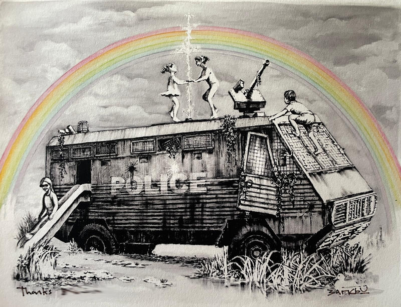 Banksy, 'Police Riot Van (Dismaland Gift Print)', 2015, Print, Hand embellished digital print in colours, Tate Ward Auctions