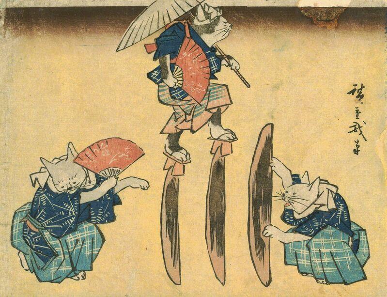 Utagawa Hiroshige (Andō Hiroshige), 'Cat Crossing to Eat', 1830-1844, Print, Japan Society