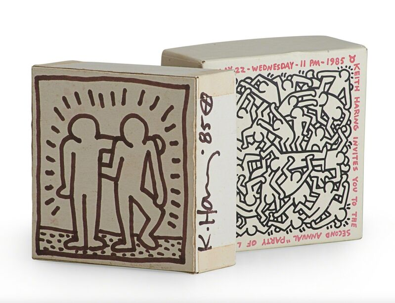 Keith Haring, 'Untitled ('Best Buddies' - Party of Life)', 1985, Painting, Marker pen, card box, Artificial Gallery