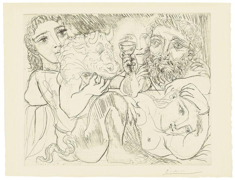 Pablo Picasso, 'Minotaur, buveur et femmes, from: La Suite Vollard', 1933, Print, Etching and aquatint on Montval paper, Christie's