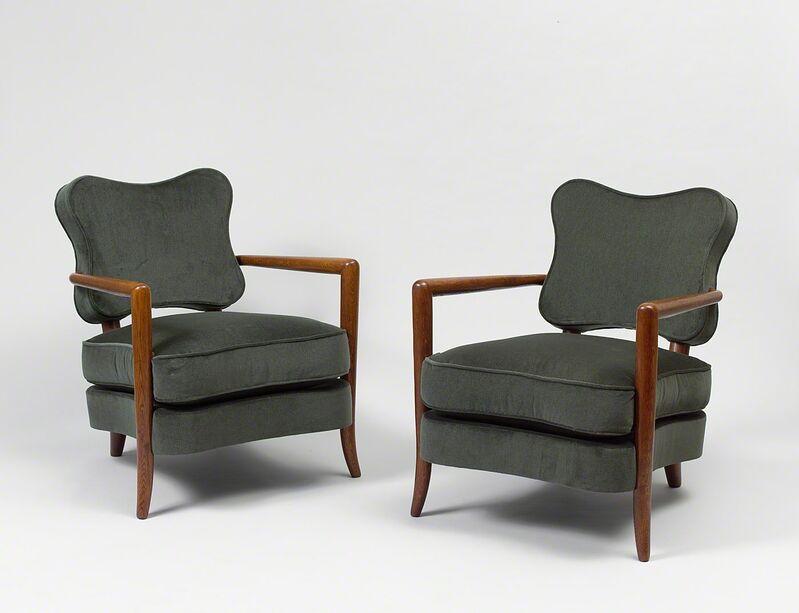 "Jean Royère, 'Pair of ""trefle"" armchairs', ca. 1948, Design/Decorative Art, Oak and velvet, Galerie Jacques Lacoste"