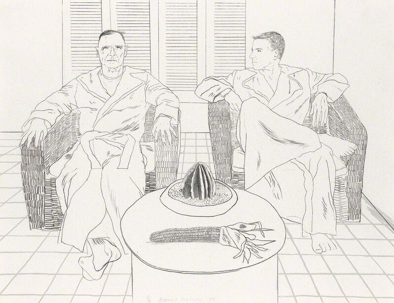 David Hockney, 'Don Bachardy and Christopher Isherwood', 1976, Print, Lithograph on Laurence Barker handmade paper, Attika Fine Arts
