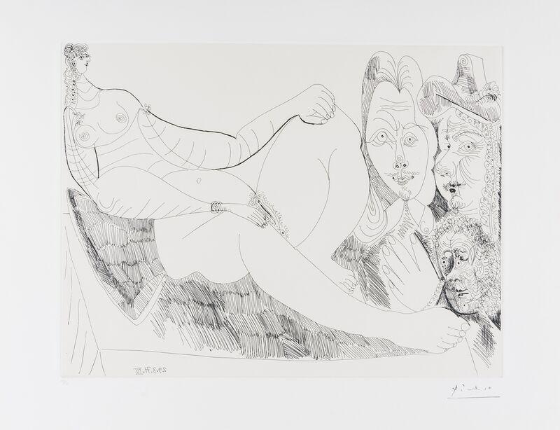 Pablo Picasso, 'Femme au Lit avec Visiteurs en Costume du XVII siècle (Bloch 1956, Baer 1965 B a)', 1971, Print, Etching, Forum Auctions