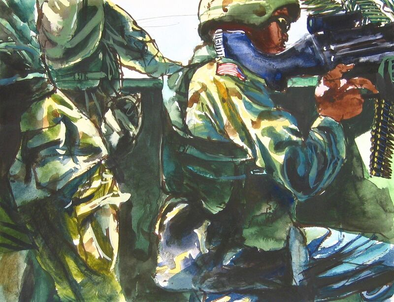Steve Mumford, '12B2 Spc. Ronald Camp with a machine gun, crouched in the 113, Baquba, June, 2004', 2004, Drawing, Collage or other Work on Paper, Ink and wash on paper, Postmasters Gallery