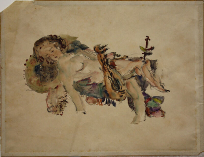 Samuel Feijoo, 'Mujer Recostada (Reclining Woman)', ca. 1942, Drawing, Collage or other Work on Paper, Watercolor on paper, Pan American Art Projects