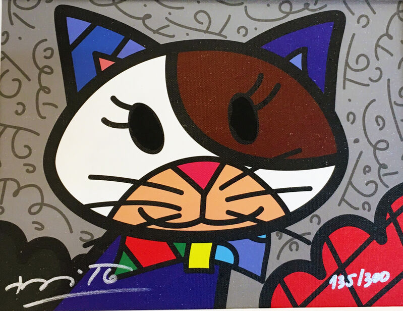 Romero Britto, 'Cat', 2018, Print, Limited Edition Serigraph on Canvas, Pop International Galleries