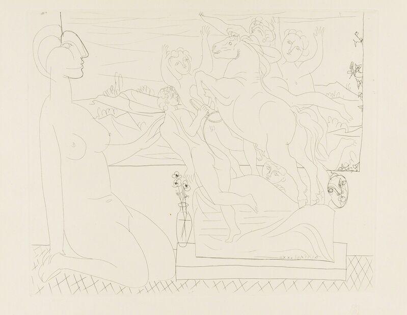 Pablo Picasso, 'Modèle Contemplant un Groupe Sculpté (Bloch 175)', 1933, Print, Etching, Forum Auctions
