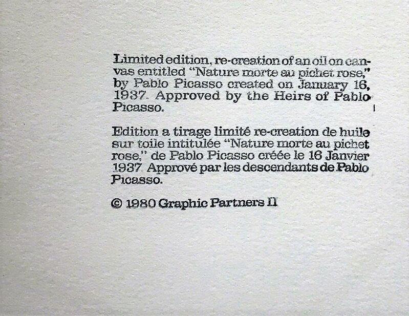 Pablo Picasso, 'Nature Morte au Pichet Rose', 1980, Reproduction, Lithograph on Arches Paper, Cerbera Gallery