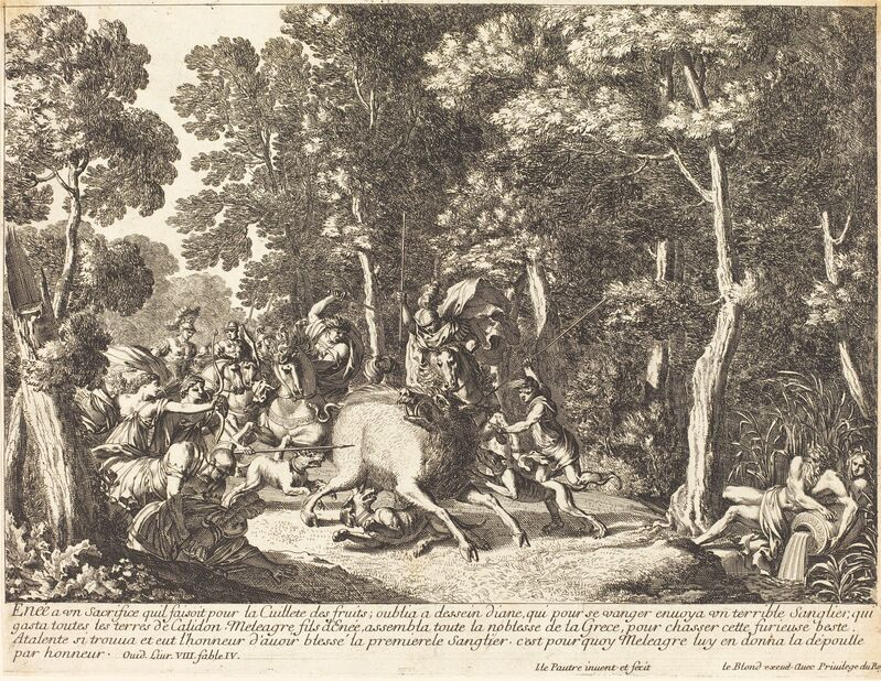 Jean Lepautre, 'Atlanta and Meleager Hunting the Boar of Calydon', Print, Etching with engraving, National Gallery of Art, Washington, D.C.