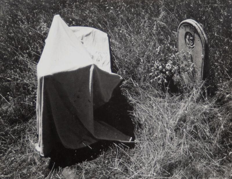 Van Deren Coke, 'Untitled (Tombstone and cloth)', 1955, Photography, Vintage gelatin silver print, Scheinbaum & Russek Ltd.