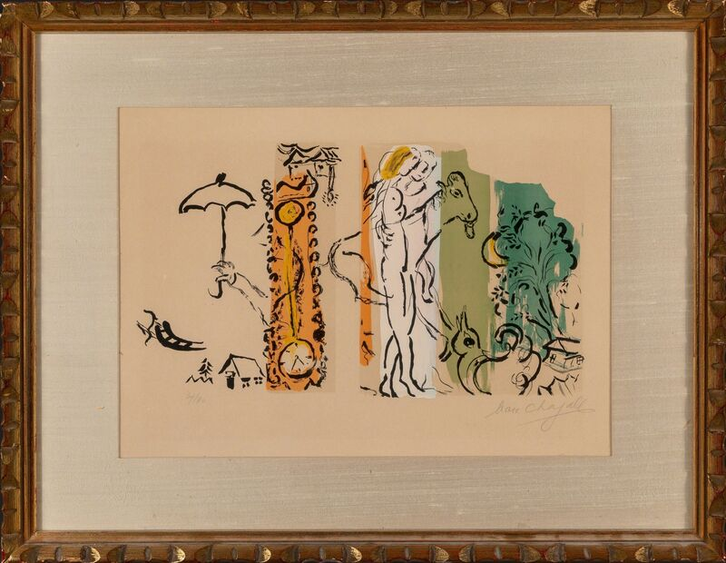 Marc Chagall, 'Paysage aux Isbas', 1957, Print, Lithograph in colors on Arches paper, Heritage Auctions