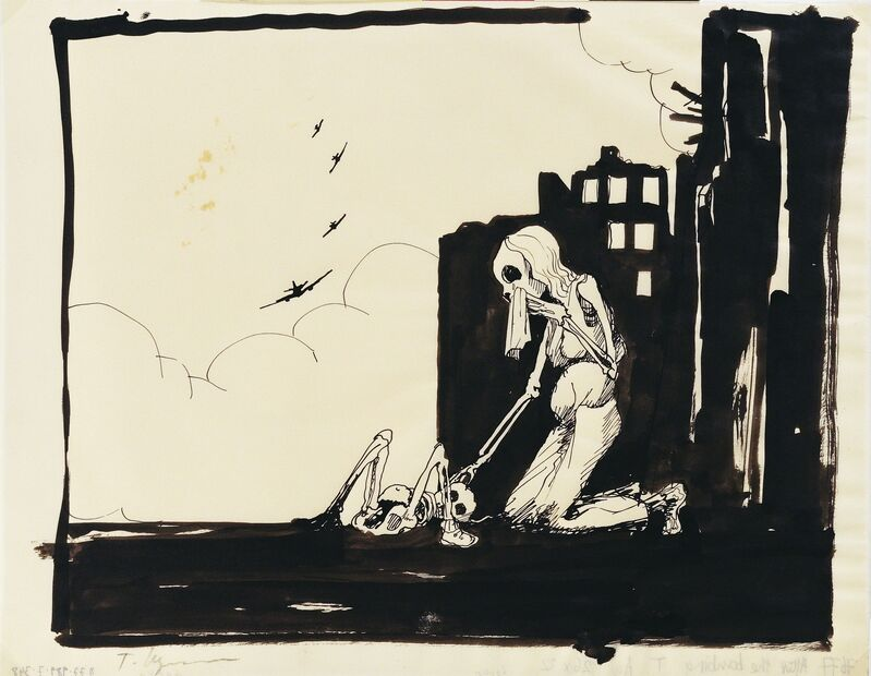Tomi Ungerer, 'Untited (After the Bombing)', c. 1980, Drawing, Collage or other Work on Paper, Ink and ink wash on paper, Drawing Center