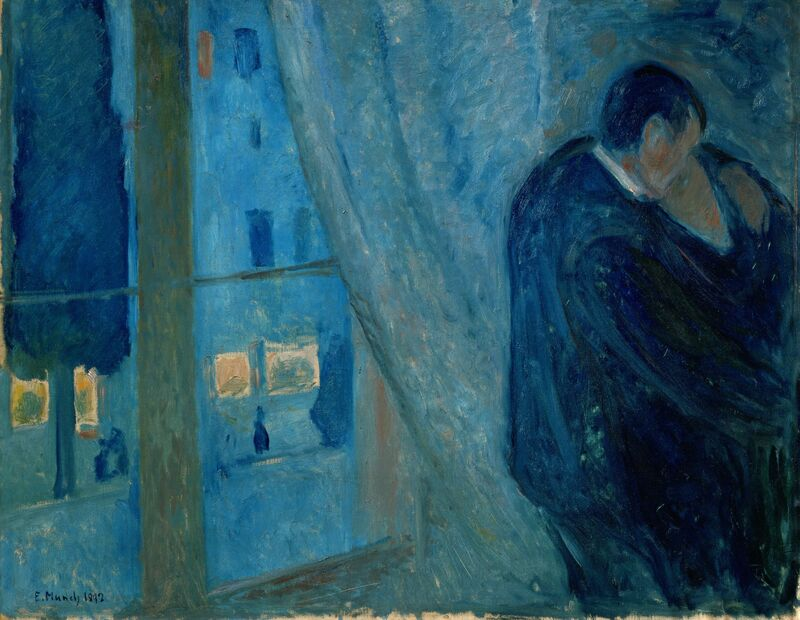 Edvard Munch, 'The Kiss', 1892, Painting, Oil on canvas, Art Resource