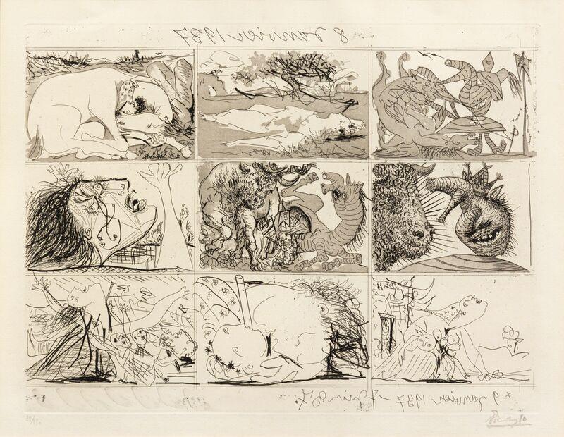 Pablo Picasso, 'Sueno y mentira de Franco (a group of 2)', 1937, Print, Etching and aquatint, Hindman