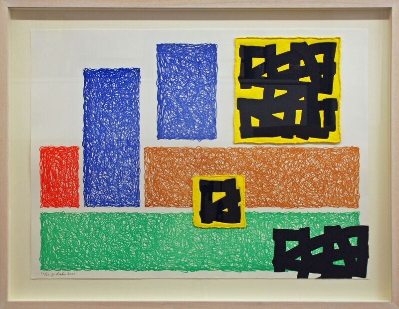 Jonathan Lasker, 'Town & Country', 2000, Print, Six colour etching and linocut printed on Hahnemuhle bright white paper with hand made paper as a collage element, Timothy Taylor