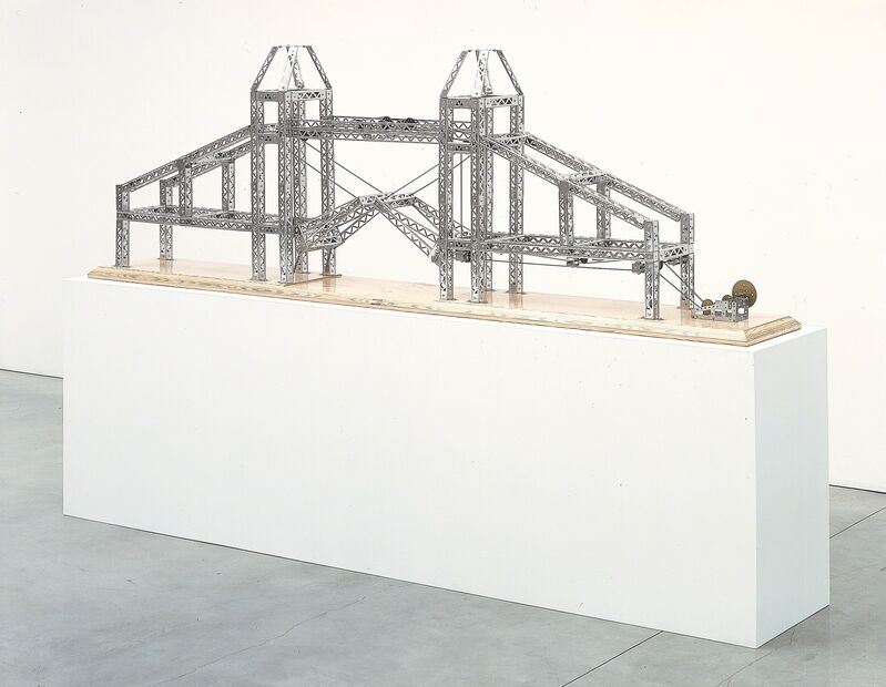 Chris Burden, 'Tower of London Bridge', 2003, Sculpture, Stainless Steel reproduction Mysto Type I Erector parts and wood base, Gagosian