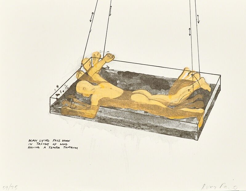 Roxy Paine, 'Man Lying Face Down from Way Cool, Exit Art portfolio', 1995, Print, Screenprint with hand coloring, Rago/Wright