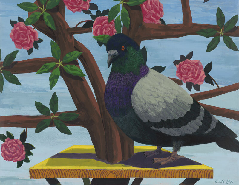 Kerry James Marshall, 'Black and Part Black Birds in America: (Pigeon and Black Capped Chickadee no 2)', 2021, Painting, Acrylic on PVC panel in artist's frame, David Zwirner
