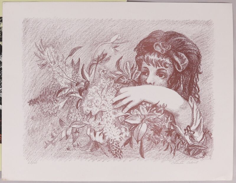 Charles Calvert, 'Girl with Flowers', 1960's, Print, Lithograph, Puccio Fine Art