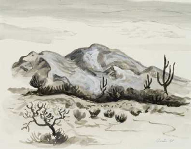 Thomas Hart Benton, 'Three Cacti and Mountain', 1958, Drawing, Collage or other Work on Paper, Ink wash, Kiechel Fine Art