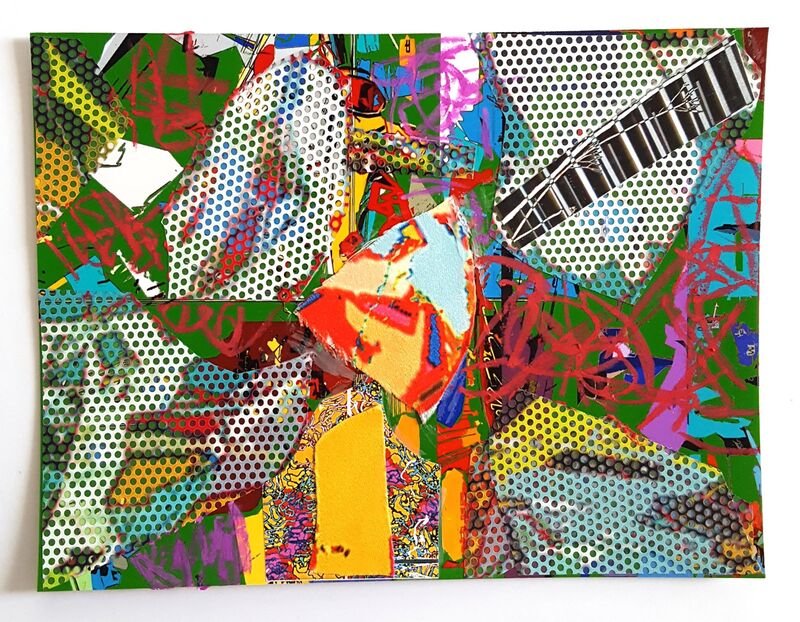 Ruben Nieto, 'Collage #15', 2020, Drawing, Collage or other Work on Paper, Perforated vinyl, oil pastels, paper collage and fabric on photo paper, Cris Worley Fine Arts