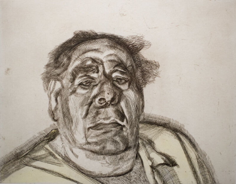 Lucian Freud, 'Lord Goodman in his yellow pyjamas', 1987, Drawing, Collage or other Work on Paper, Etching with watercolour,  Olsen Irwin