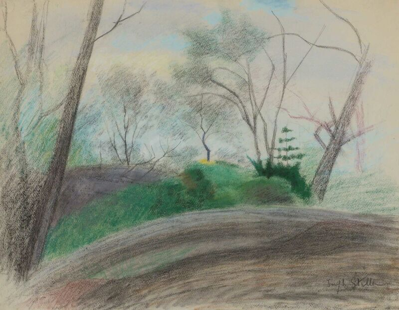 Joseph Stella, 'Landscape in the Bronx', Painting, Pastel on paper, Doyle