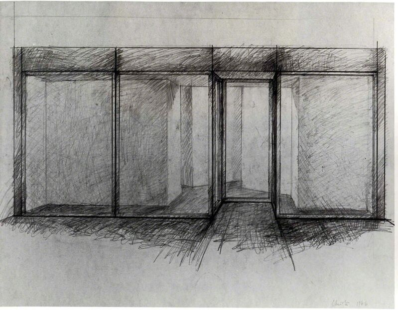 Christo, 'Store Front (preliminary study of project for Documenta IV, Kassel 1968)', 1966, Drawing, Collage or other Work on Paper, Double sided drawing and collage, Annely Juda Fine Art