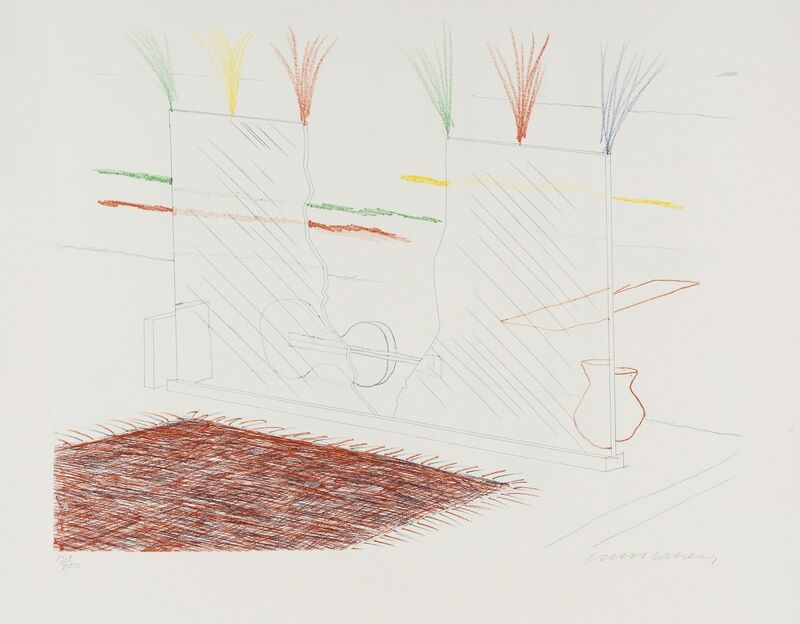David Hockney, 'On it May Stay His Eye (from The Blue Guitar) (M.C.A. Tokyo 194)', 1976-77, Print, Etching with aquatint printed in colours, Forum Auctions