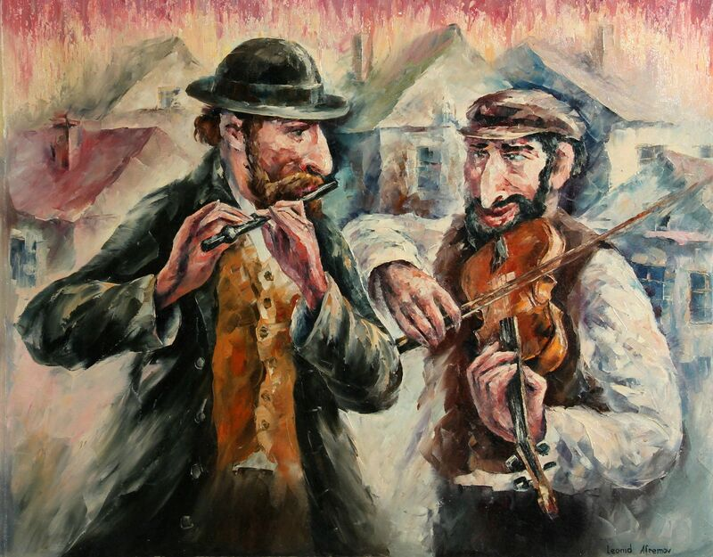 Leonid Afremov, 'Two Street Musicians', 2001, Painting, Oil on Canvas, RoGallery