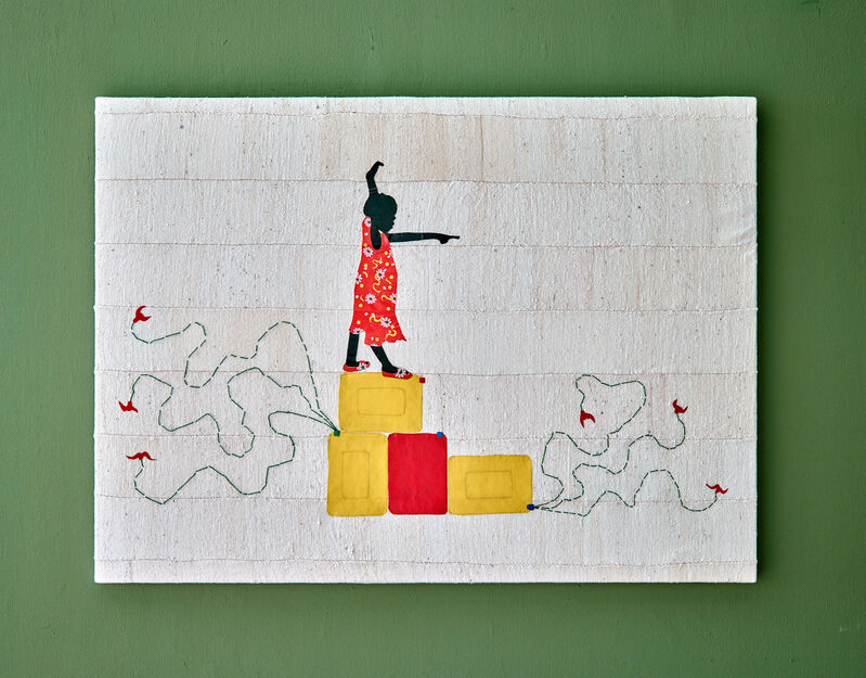 Saidou Dicko, 'This future will be better', 2021, Mixed Media, Plastic on traditional organic cotton weaving, made in Burkina Fasso, Duende Art Projects