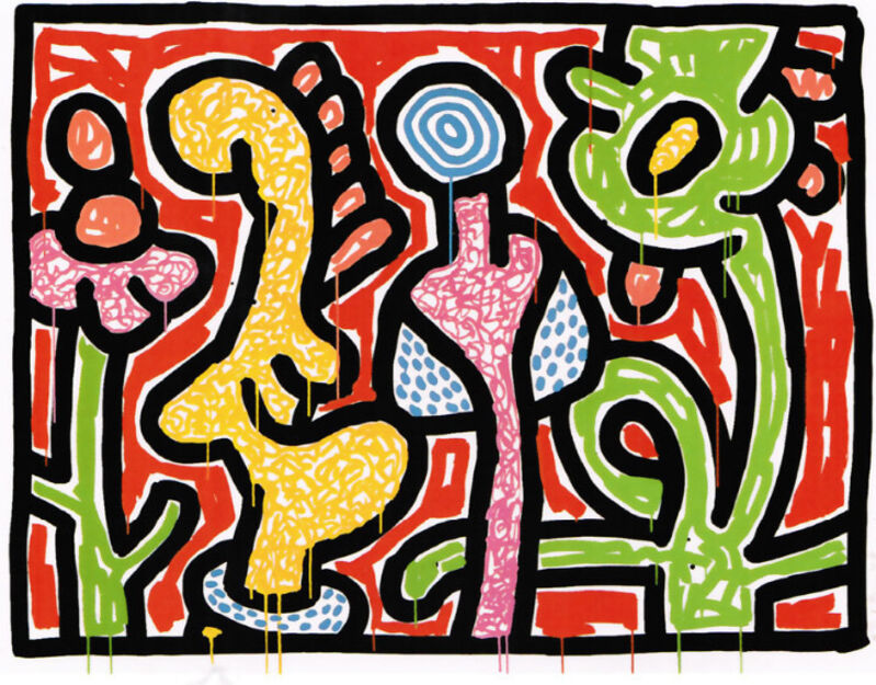 Keith Haring, 'Flowers IV', 1990, Print, Silkscreen on paper, Taglialatella Galleries