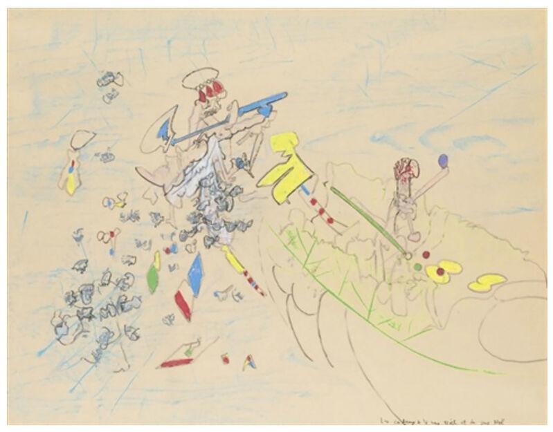 Roberto Matta, 'Les cadeaux de la mère Noël et du père Noël', 1968-1969, Drawing, Collage or other Work on Paper, Pencil, pastel and crayon on paper, Robert Fontaine Gallery