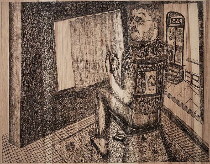 Daniel Heyman, 'Spring: Artist Contemplates (Inheritance)', 2012, Print, Etching on wood veneer, Cade Tompkins Projects