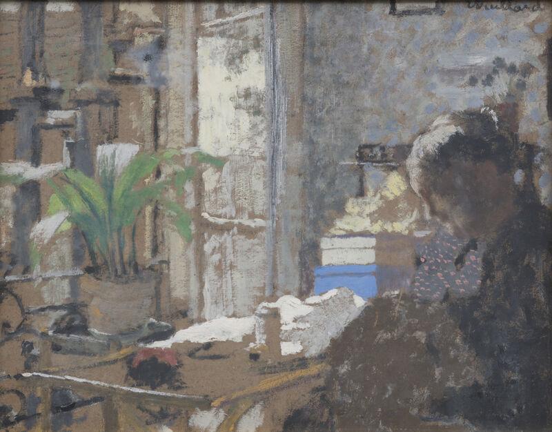 Édouard Vuillard, 'Madame Vuillard cousant. Au verso étude de femme assise', 1898, Painting, Oil on cardboard, HELENE BAILLY GALLERY