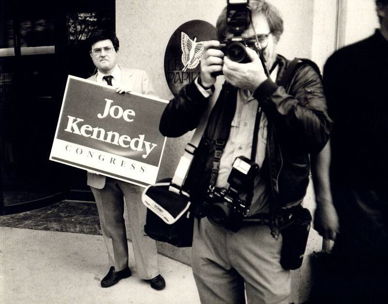 Andy Warhol, 'Andy Warhol, Photograph of Richard Weisman at Joe Kennedy Rally, 1986', 1986, Photography, Silver gelatin print, Hedges Projects