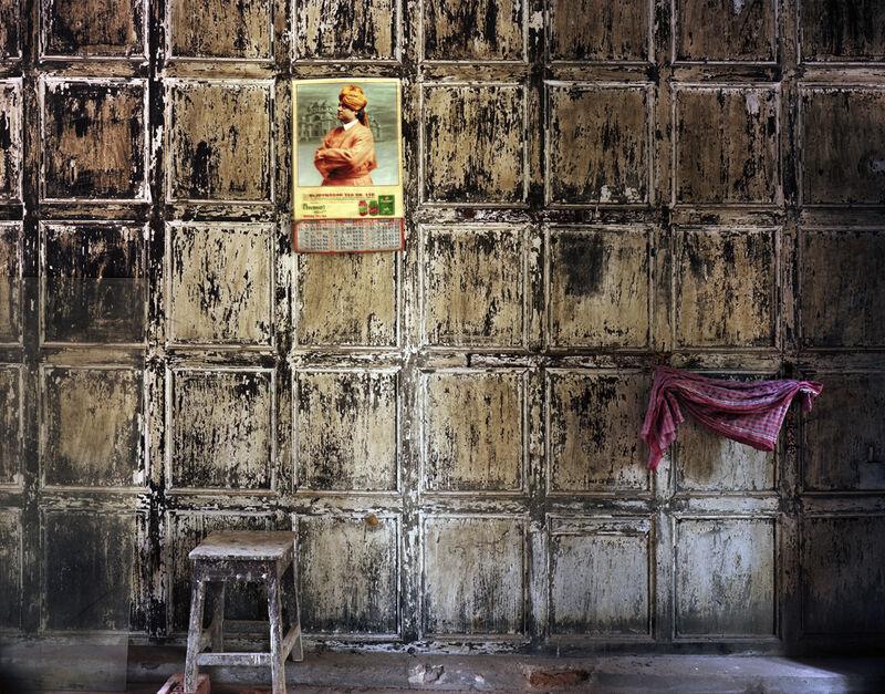 Laura McPhee, 'Swami Vivekenanda Calendar at Bawali Rajbari (Mansion) During Renovation, West Bengal', 2013, Photography, Archival pigment ink print, Benrubi Gallery