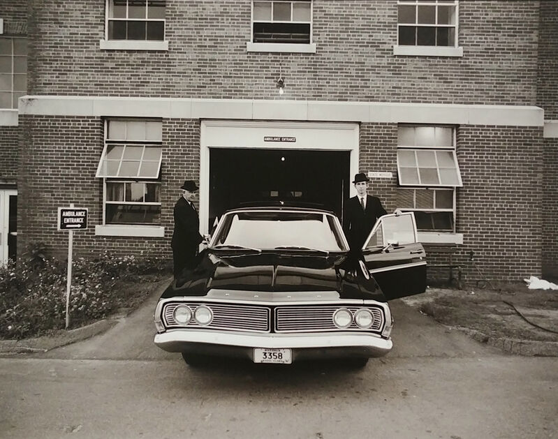 Jeffrey Silverthorne, 'Morticians and Hearse, H Building, Morgue Work', 1972, Photography, Archival pigment print, PDNB Gallery