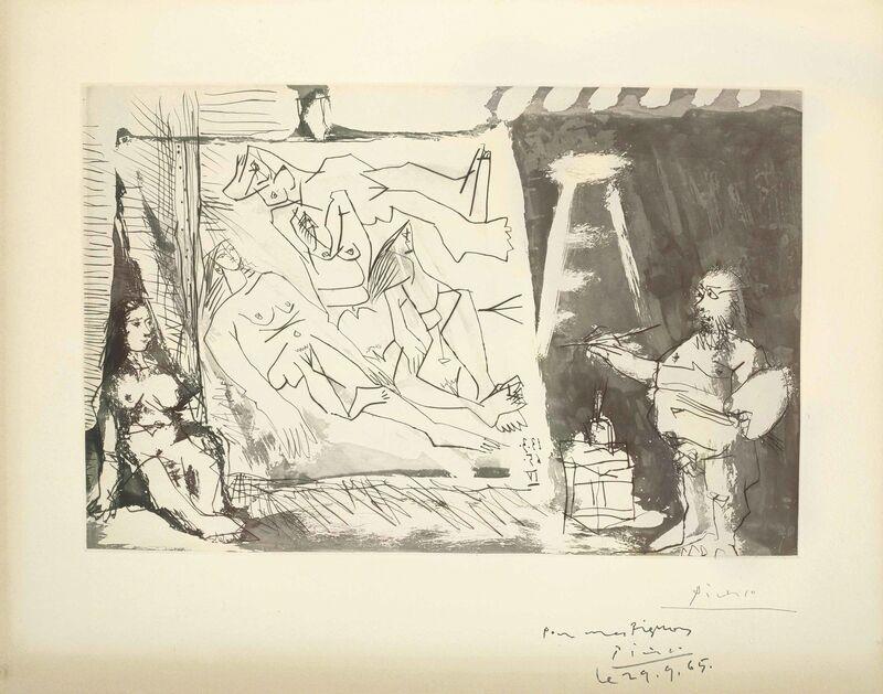 Pablo Picasso, 'Dans l'Atelier: Peintre et sa toile avec un modèle assis', 1965, Print, Aquatint and drypoint on Auvergne Richard de Bas wove paper, Christie's