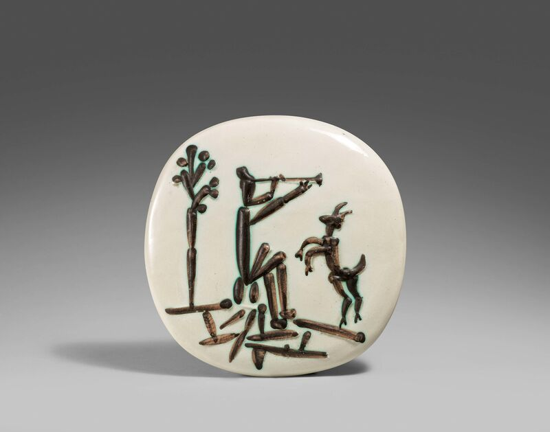 Pablo Picasso, 'Flute player and goat', 1956, Design/Decorative Art, White earthenware clay, partially polychromed and glazed, Van Ham