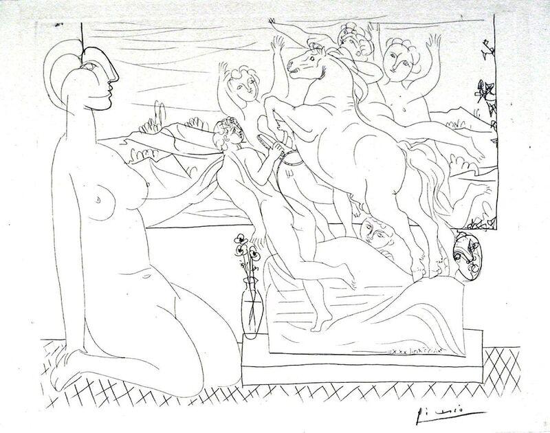 Pablo Picasso, 'Model Contemplating Sculpture', 1933, Print, Etching, Harris Schrank Fine Prints